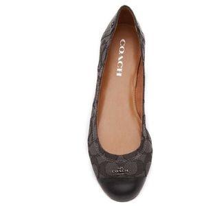 NIB 8 Coach Chelsea Ballet Flats Slip On Women Black Canvas (Size US 8)